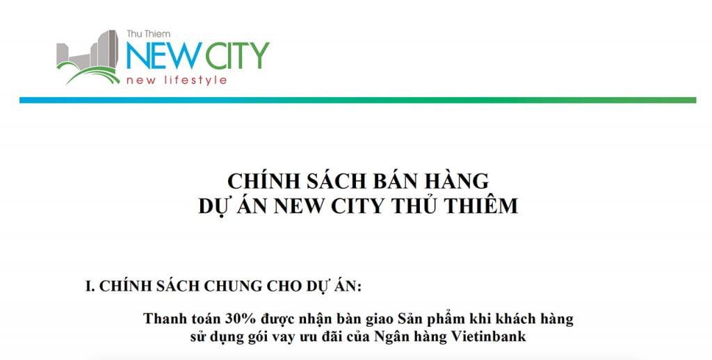 Chính sách bán hàng căn hộ New City Thủ Thiêm Quận 2