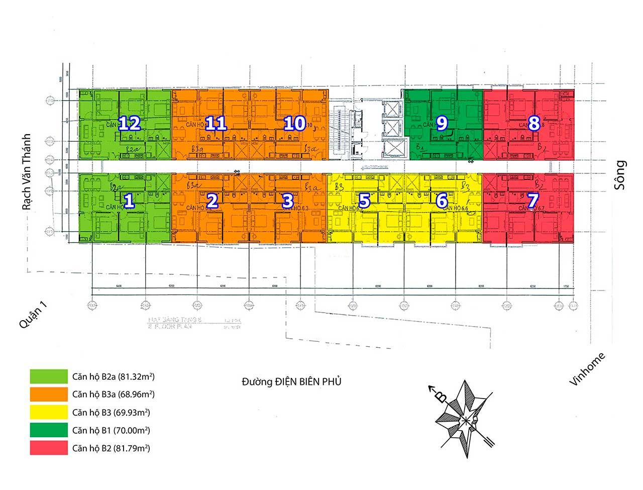 Mặt bằng căn hộ 152 Điện Biên Phủ Phường 25 Quận Bình Thạnh
