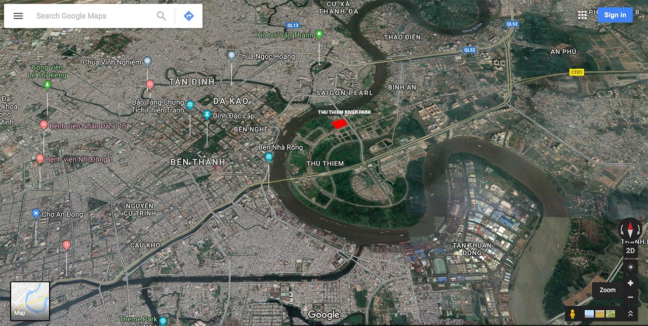 Location of Thu Thiem River Park Project in Ho Chi Minh city