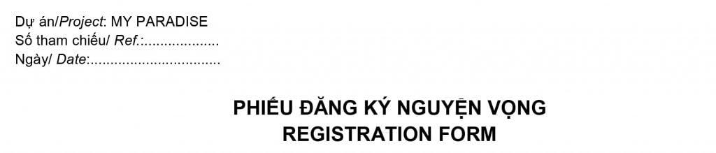 Phiếu đăng ký nguyện vọng My Paradise Thủ Thiêm của Sonkim Land