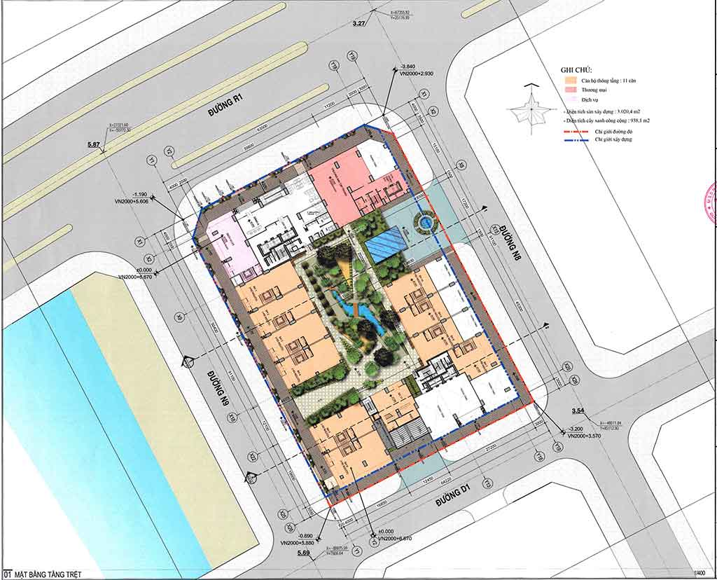 Mặt bằng Shophouse Riverfront Residences tầng trệt