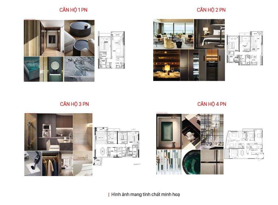 Mặt bằng căn hộ 1 2 3 và 4 phòng ngủ