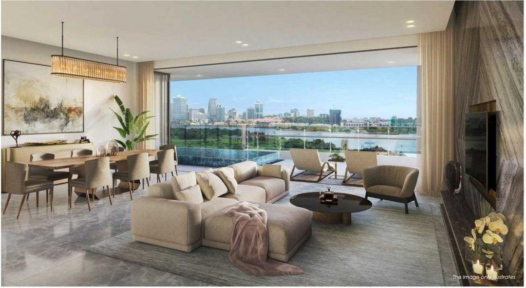 Nội thất phòng khách căn hộ với tầm nhìn toàn cảnh sông Sài Gòn