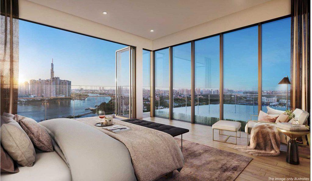 Phòng ngủ chính nhìn tòa nhà Landmark 81 tầng